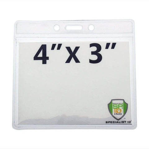 "Clear 4"" X 7 1/2"" Vinyl Vertical Large Badge Holder With Two Pockets (P/N 1840-5052)"