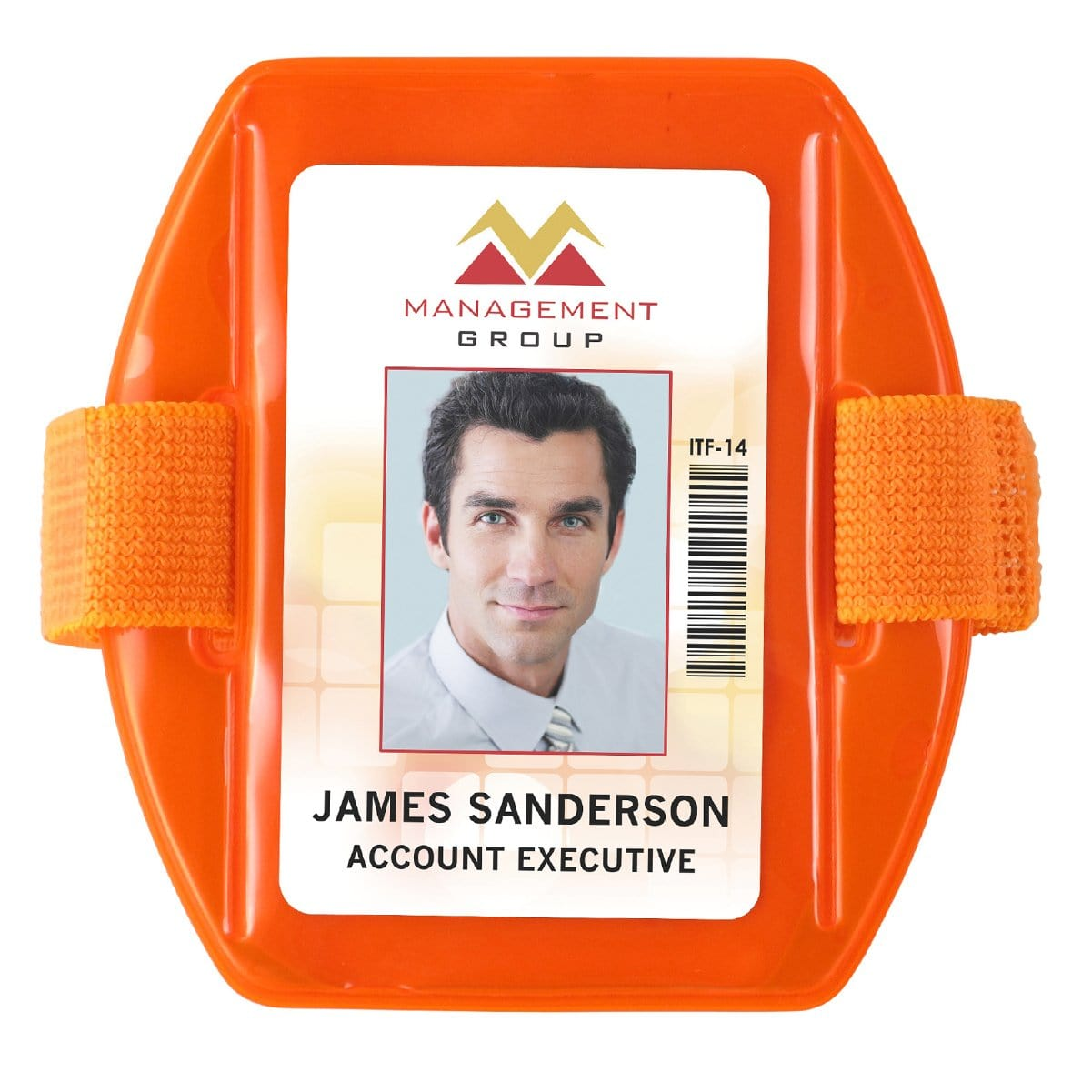 Non-Reflective Orange Vertical Armband Badge Holder (P/N 504-ARNO)