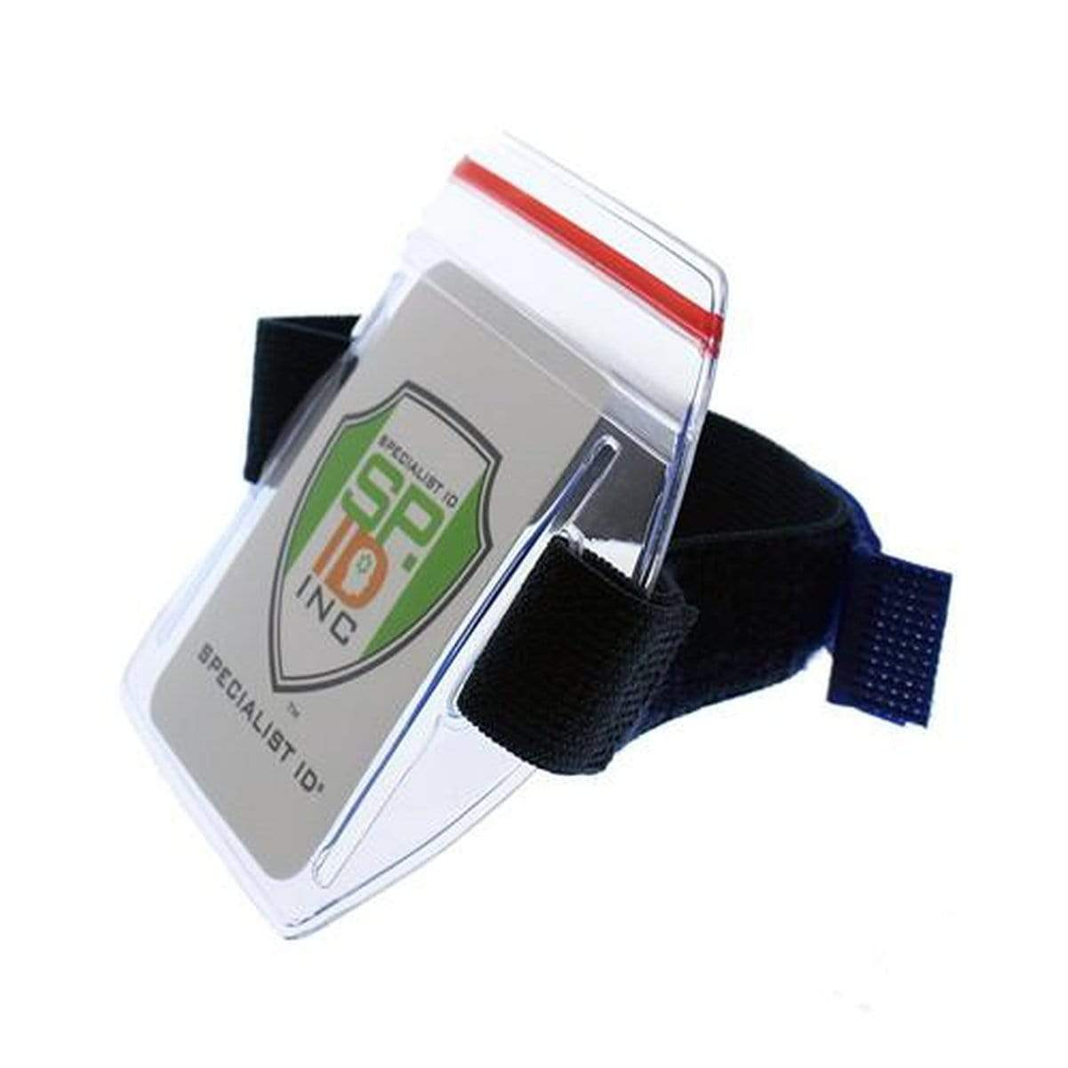 Navy Blue Vertical Armband ID Badge Holders with Zipper Top (504-ARZB & 504-ARZW) 504-ARZB