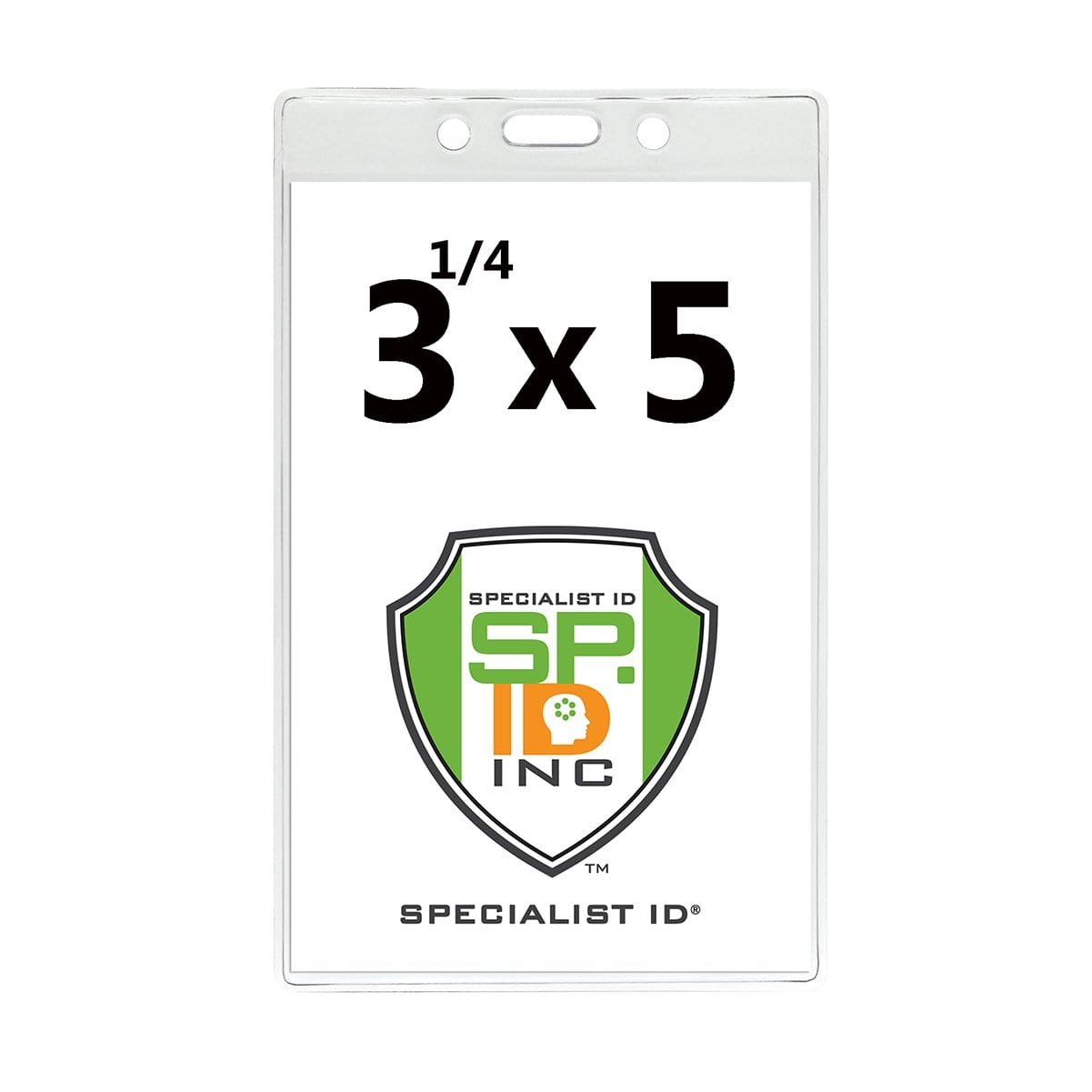 "3 1/4"" X 5"" Clear Premium Vinyl Vertical Extra Large ID Badge Holder (P/N 506-35625)"