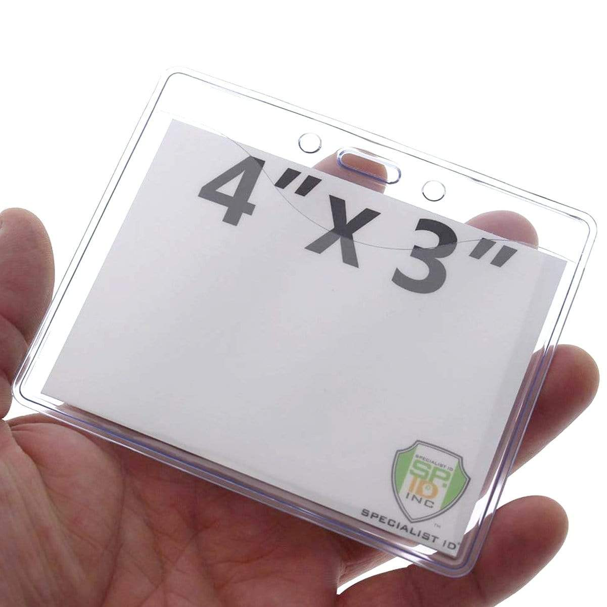 Clear 4 X 3  Premium Horizontal Convention Size Vinyl Badge Holder (506-J)