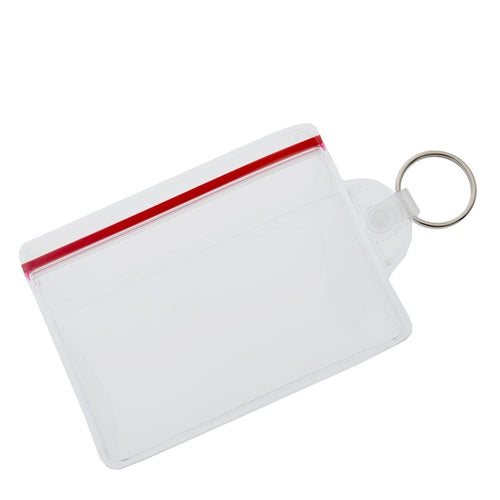 Clear Soft Horizontal Fuel Card or ID Badge Holder w/ Zipper Closure & Key Ring 506-ZHKR