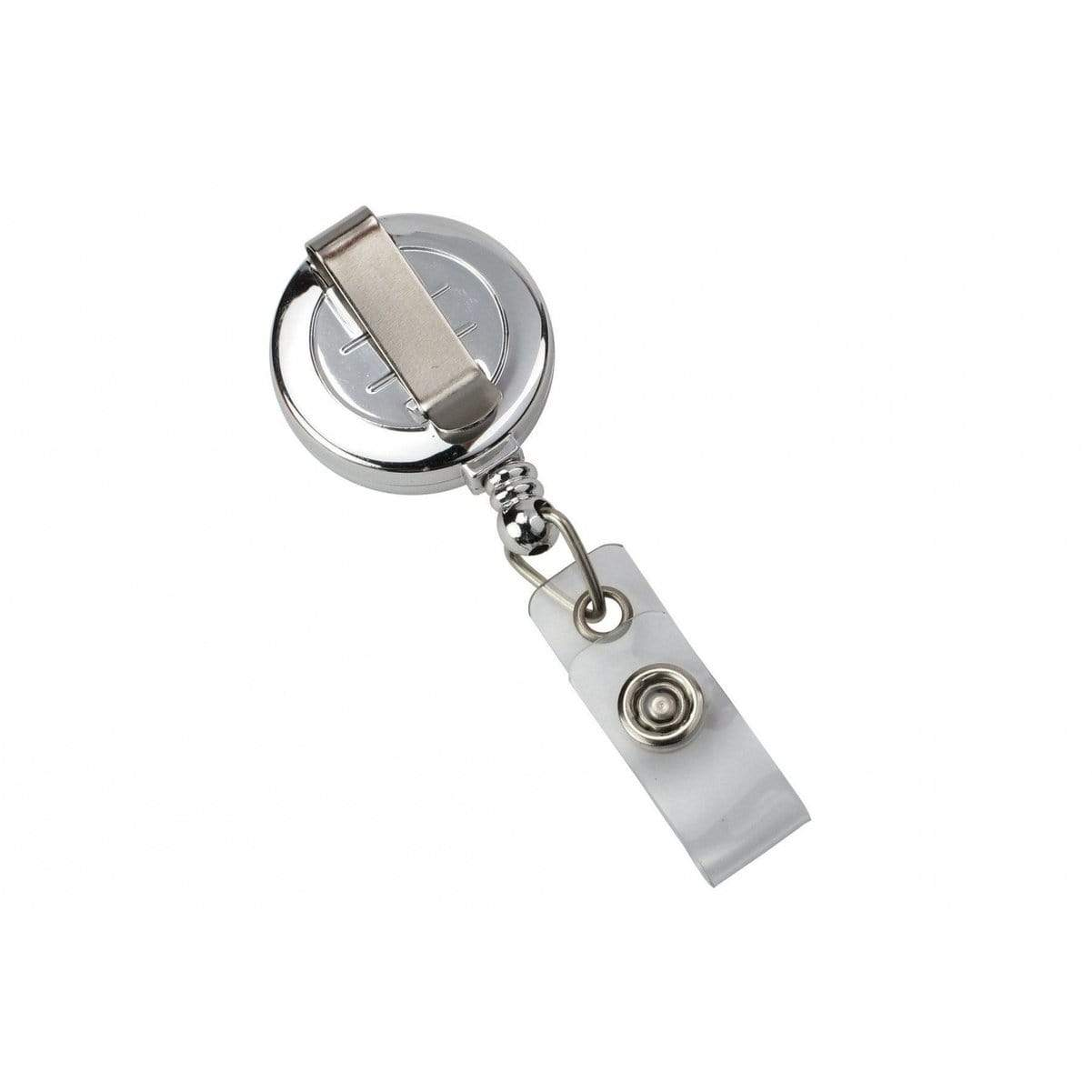 Silver Chrome Plastic Badge Reel With  Belt Clip (P/N 2120-3030)