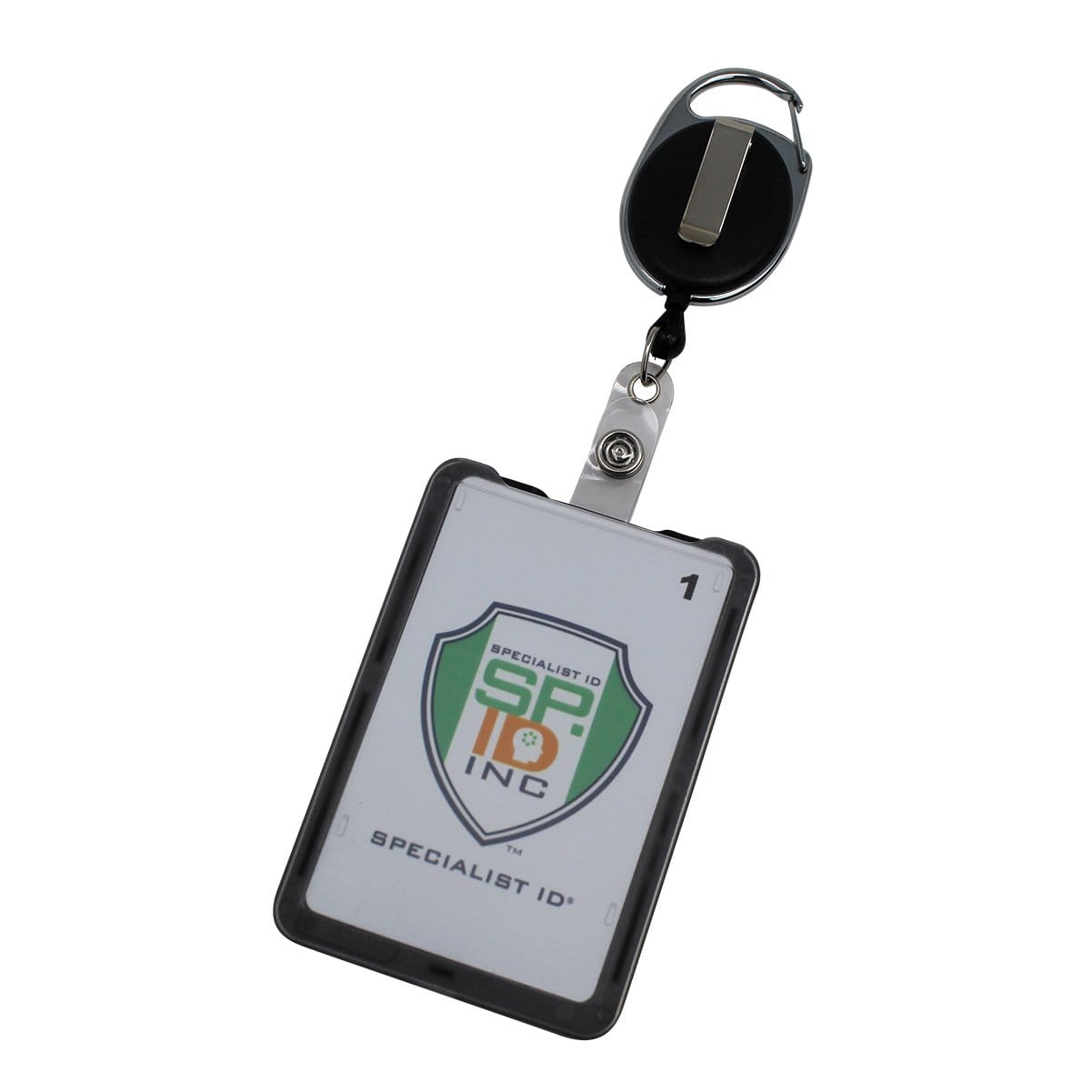 Hard Plastic 3 Card Badge Holder with Badge Reel - Retractable ID Lanyard Features Belt Clip &  Carabiner - Rigid Vertical CAC Holder - Top Load Holds Three Cards by SpecialistID