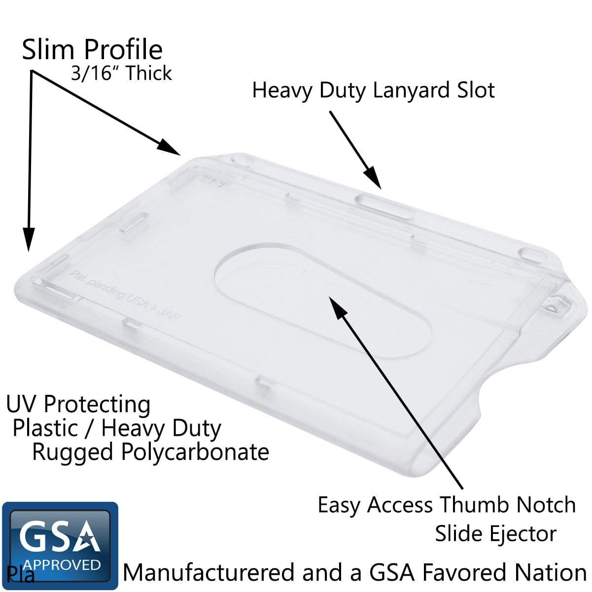 Polycarbonate Slim Horizontal Clear Rigid ID Card Dispenser - Clear Hard Plastic - with Thumb Notch