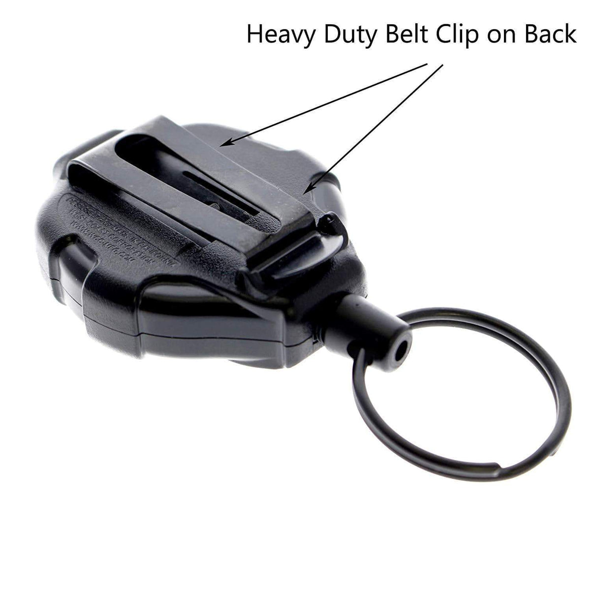 Heavy Duty Retractable Ratchit Keychain Tether Reel for Multiple Keys with Belt Clip and Locking Feature