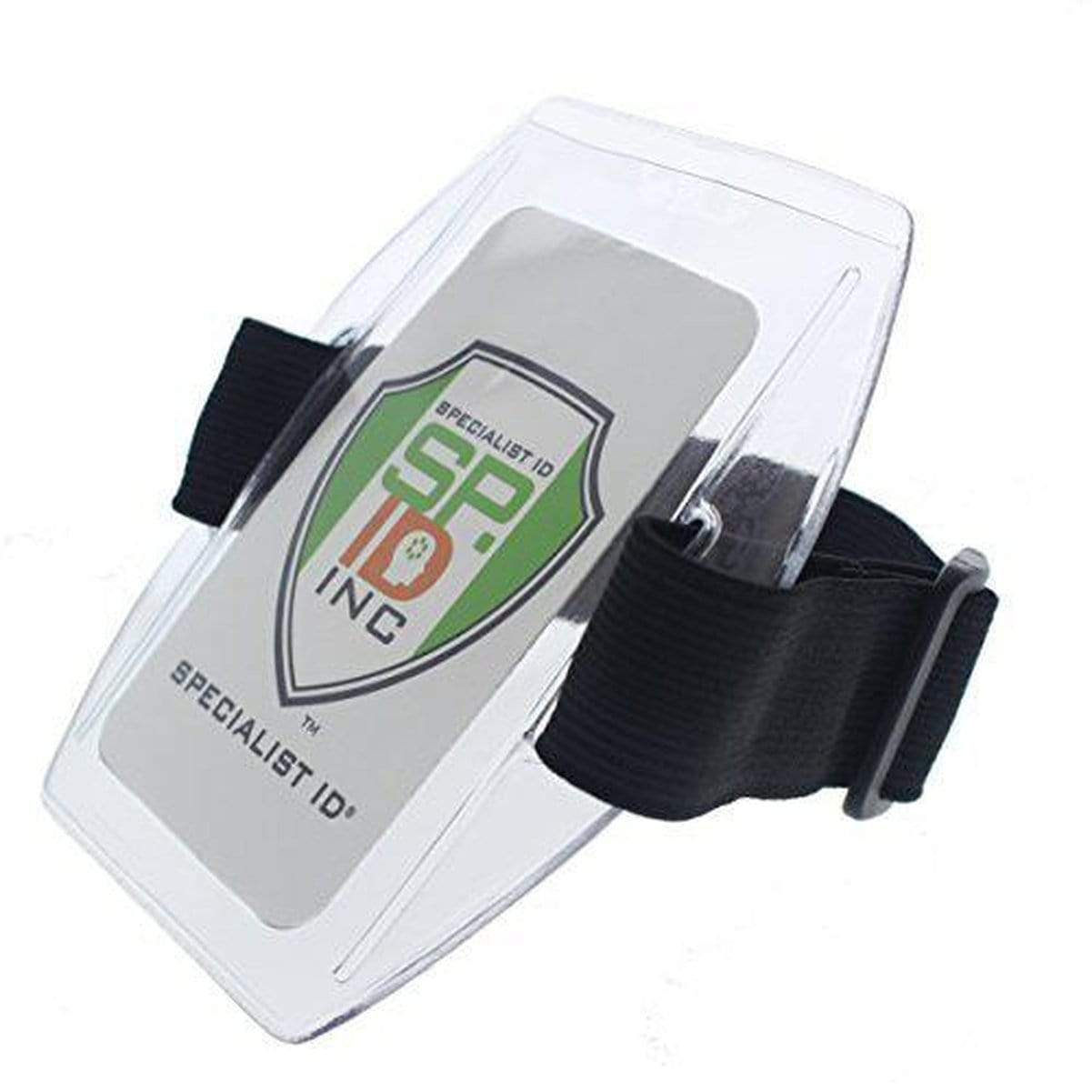 Black Vertical Armband ID Badge Holders with Elastic Band and Hook and Loop Clasp (ABH-V) ABH-V-BLACK
