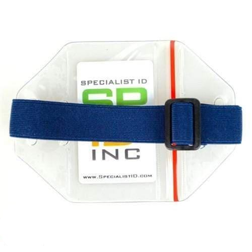 Vertical Arm Badge Holder with Elastic Band And Zip Lock Seal (P/N ABH-V-BLU-ZIP)