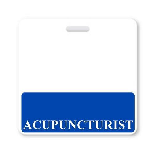 """ACUPUNCTURIST"" Horizontal Badge Buddy with Blue border"