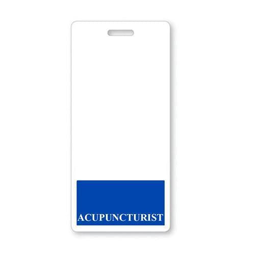 """ACUPUNCTURIST"" VERTICAL BADGE BUDDY WITH BLUE BORDER"