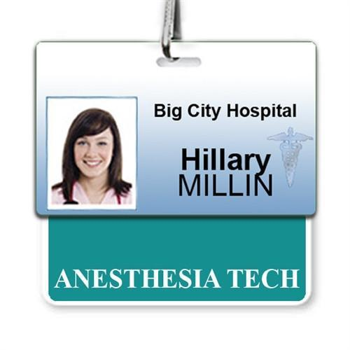 """ANESTHESIA TECH"" Horizontal Badge Buddy with Teal border"