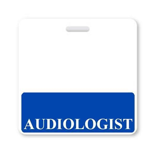 """AUDIOLOGIST"" Horizontal Badge Buddy with Blue border"