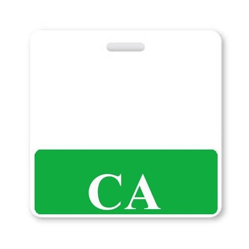 """CA"" Horizontal Badge Buddy with GREEN border"