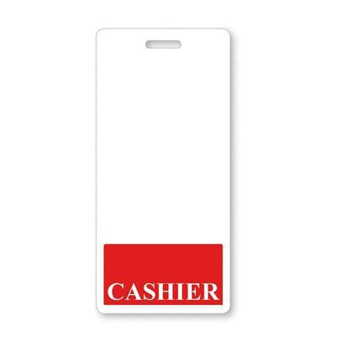 CASHIER Vertical Badge Buddy with Red Border