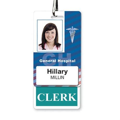 CLERK Vertical Badge Buddy with TEAL Border