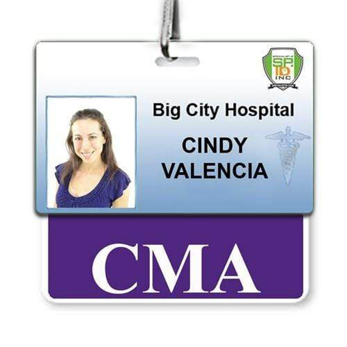 """CMA"" Horizontal Badge Buddy with Purple Border"