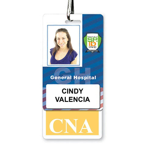 """CNA"" Vertical Badge Buddy with Yellow Border and White Text"