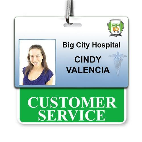 CUSTOMER SERVICE Horizontal Badge Buddy with Green Border