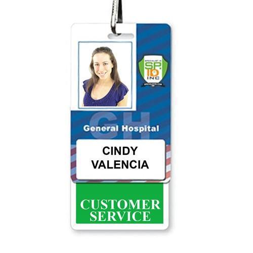 CUSTOMER SERVICE Vertical Badge Buddy with Green Border