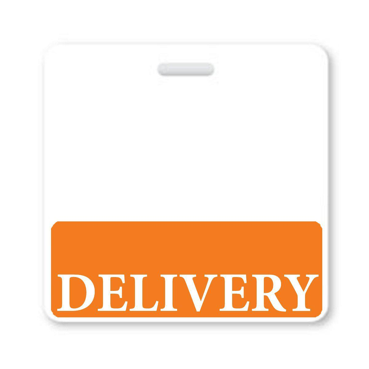 """Delivery"" Horizontal Badge Buddy with Orange Border"