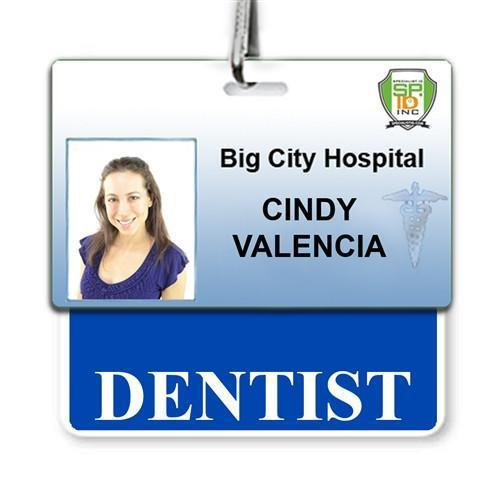 """DENTIST"" Horizontal Badge Buddy with Blue border"