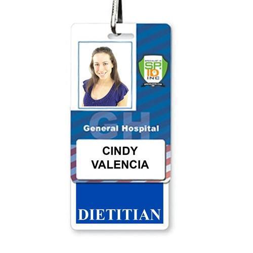 """DIETITIAN"" Vertical Badge Buddy with Blue Border"