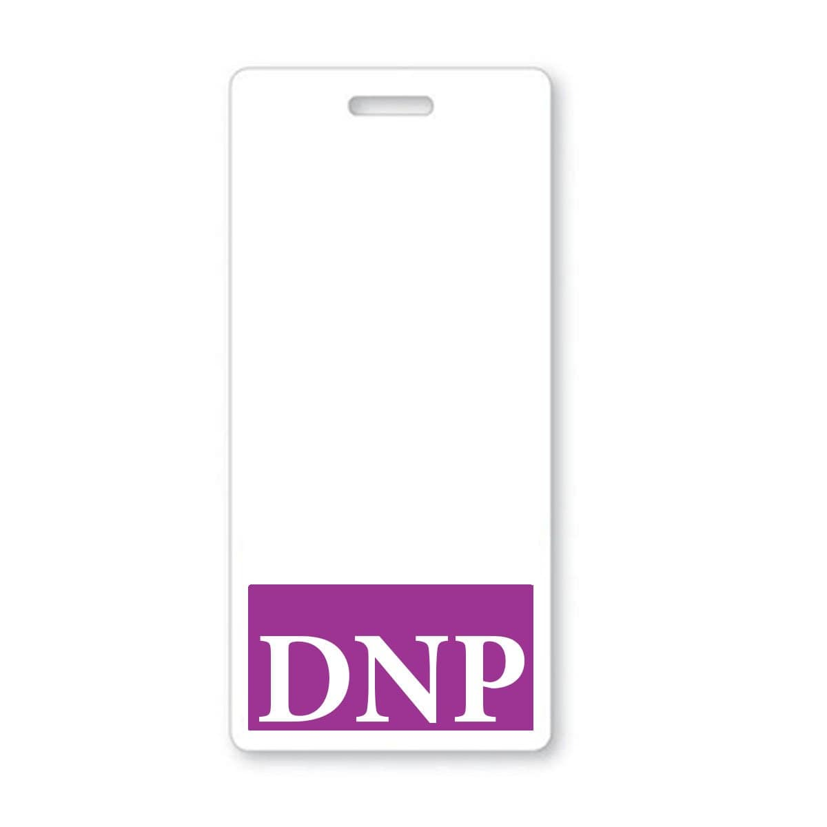 DNP Vertical Badge Buddy with Purple Border