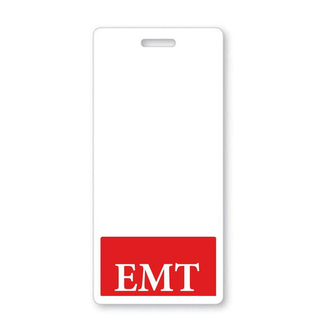 """EMT"" Emergency Medical Technician, Horizontal Badge Buddy with Red Border"
