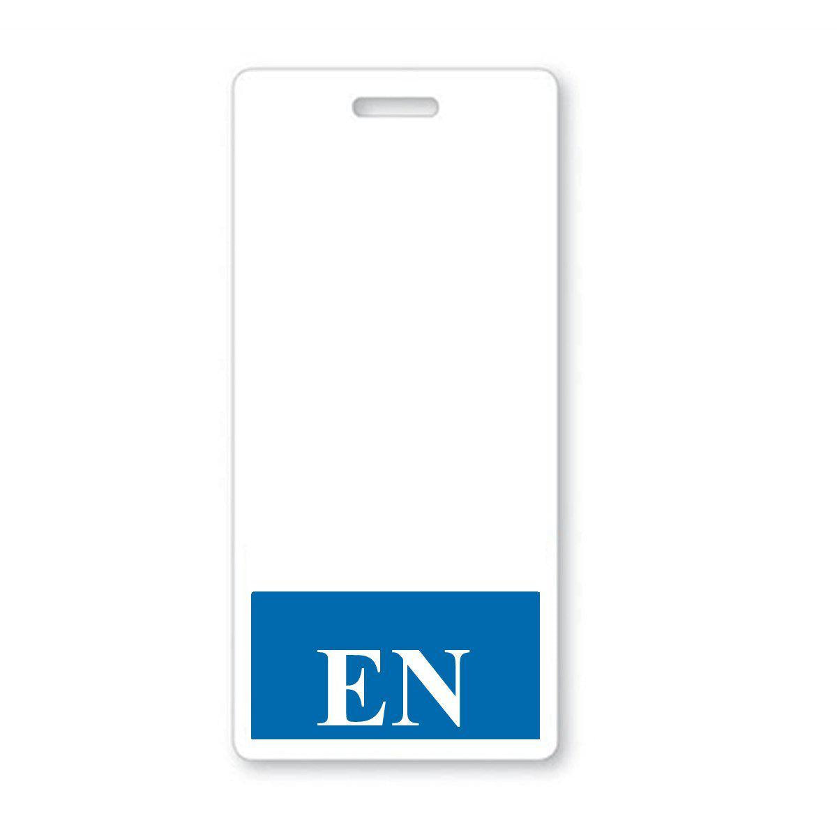 "Blue Registered Nurse ""EN"" Vertical Hospital ID Badge Buddy (BB-EN-BLUE-V)"