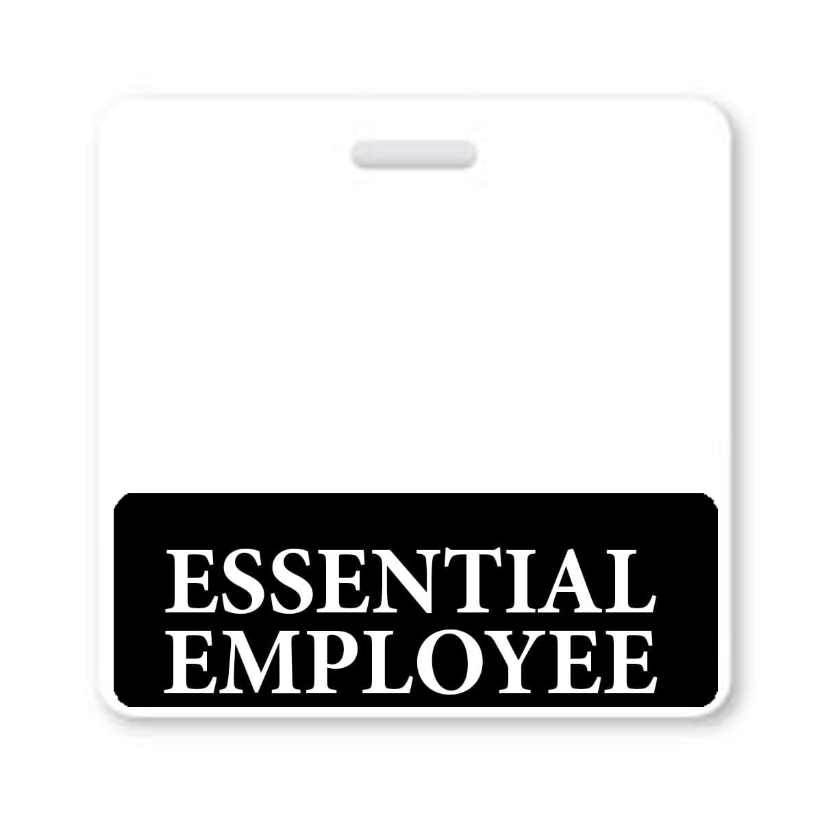 ESSENTIAL EMPLOYEE Horizontal Badge Buddy with BLACK Border