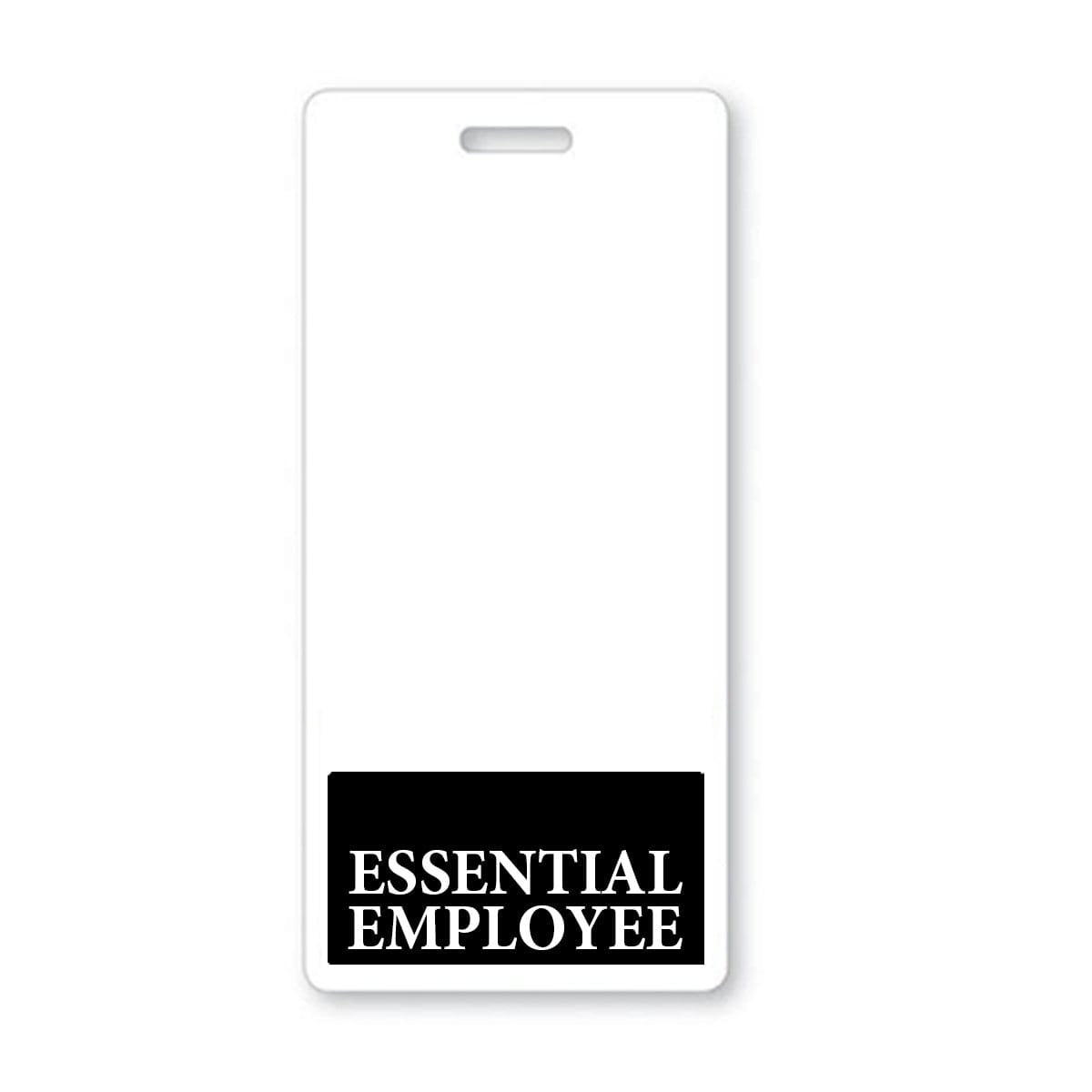 ESSENTIAL EMPLOYEE Vertical Badge Buddy with BLACK Border
