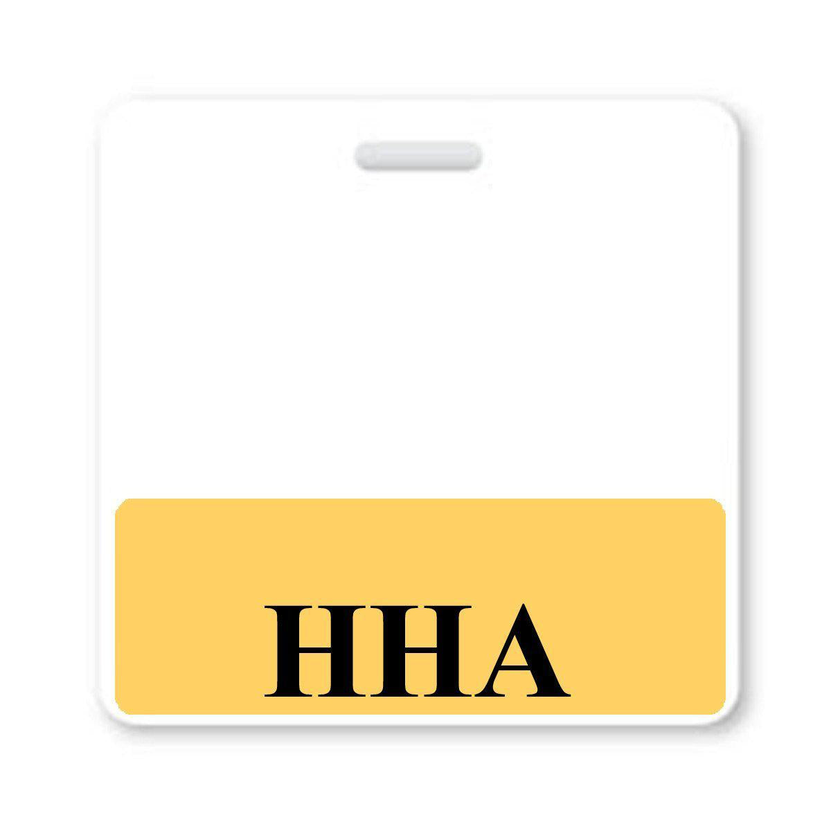 """HHA"" Horizontal Badge Buddy with Yellow Border"