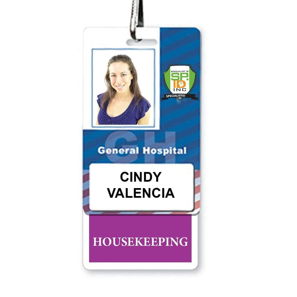 HOUSEKEEPING Vertical Badge Buddy with PURPLE Border