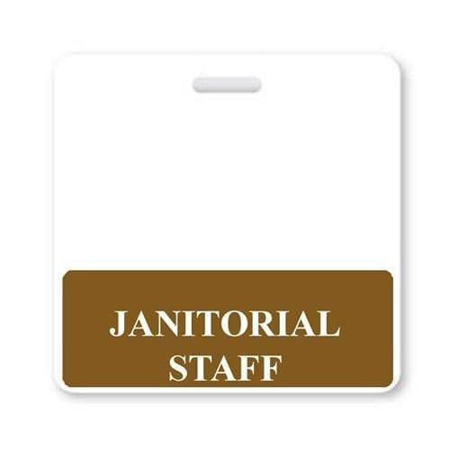 JANITORIAL STAFF Horizontal Badge Buddy with Brown Border