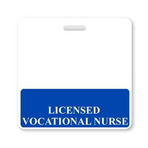 """LICENSED VOCATIONAL NURSE"" Horizontal Badge Buddy with Blue border"
