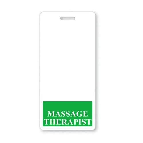 MASSAGE THERAPIST Vertical Badge Buddy with Green Border