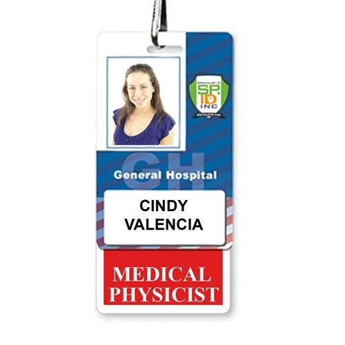 """Medical Physicist"" Vertical Badge Buddy with Red Border"