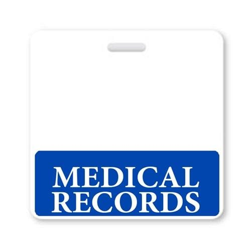MEDICAL RECORDS Horizontal Badge Buddy with Blue Border