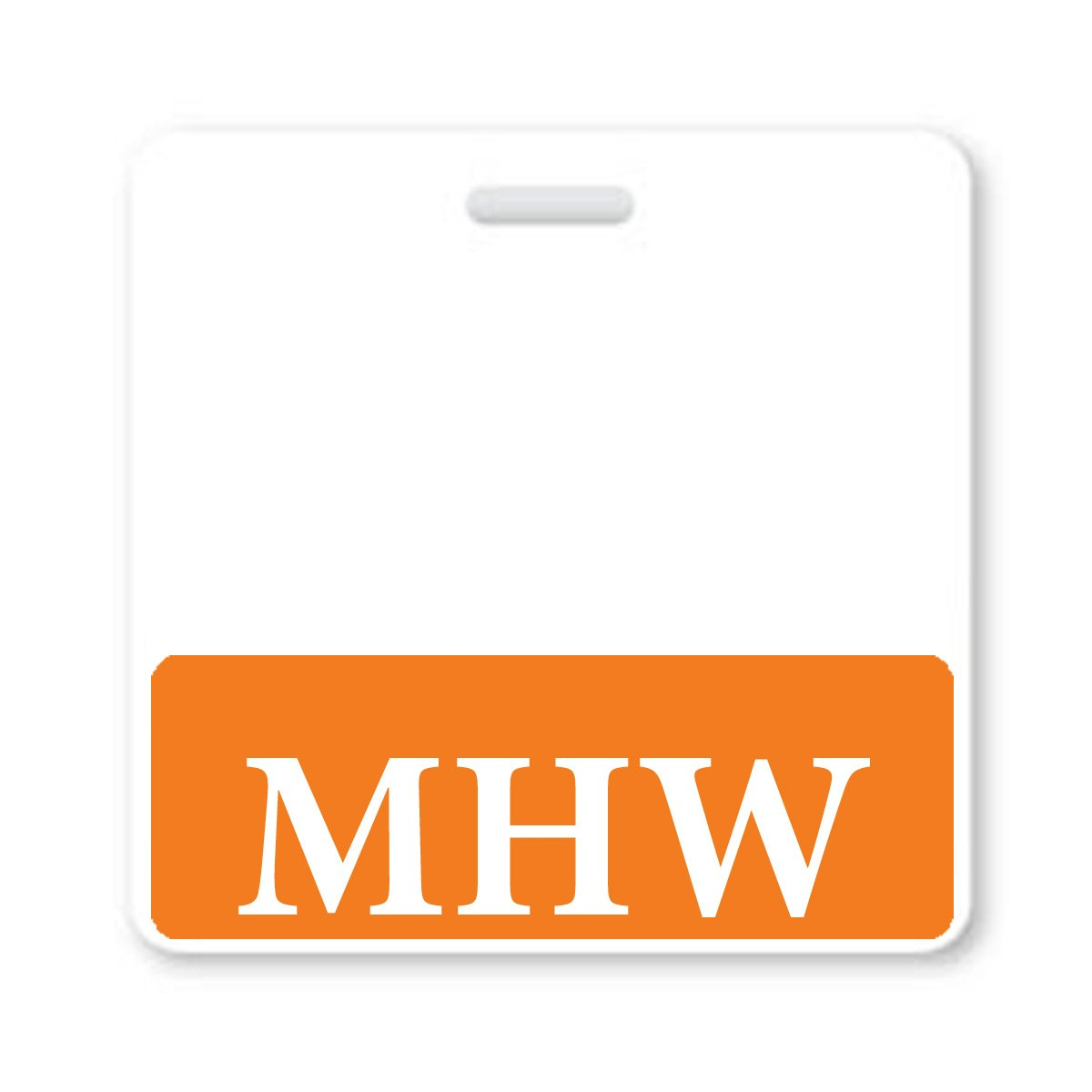 """MHW"" Horizontal Badge Buddy with Orange Border"