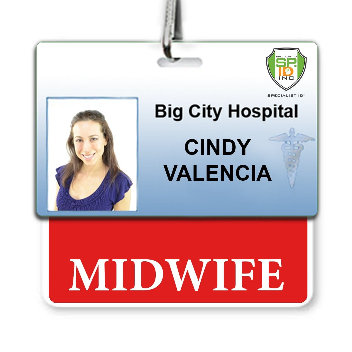 """MIDWIFE"" horizontal Badge Buddy with Red Border"
