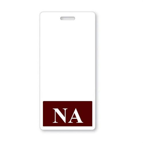"""NA"" Vertical Badge Buddy with Maroon Border"