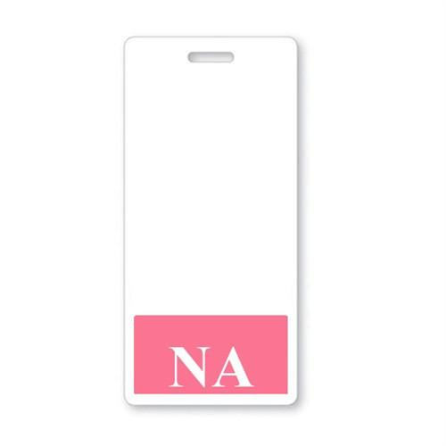 """NA"" Vertical Badge Buddy with Pink Border"