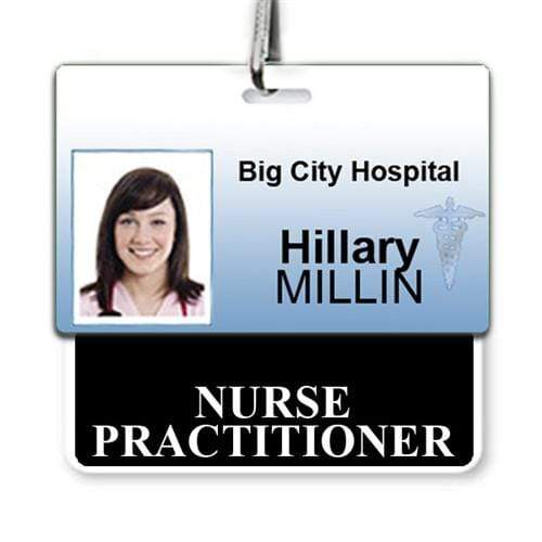 NURSE PRACTITIONER Horizontal Badge Buddy with Black Border