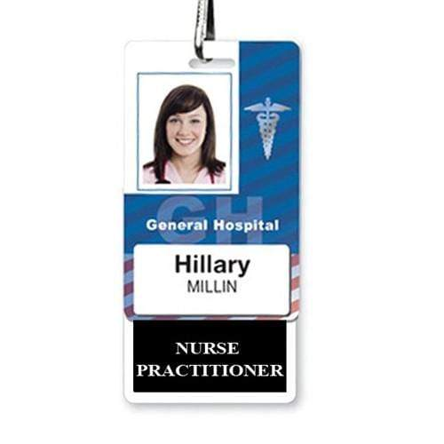 NURSE PRACTITIONER Vertical Badge Buddy with Black Border