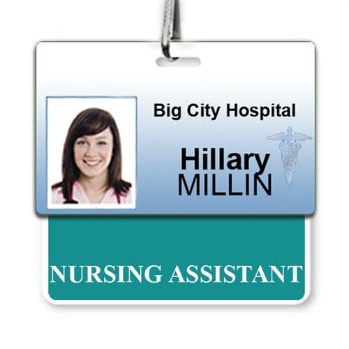 """NURSING ASSISTANT"" Horizontal Badge Buddy with Teal border"