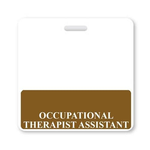 Occupational Therapist Assistant Horizontal Badge Buddy with Brown Border