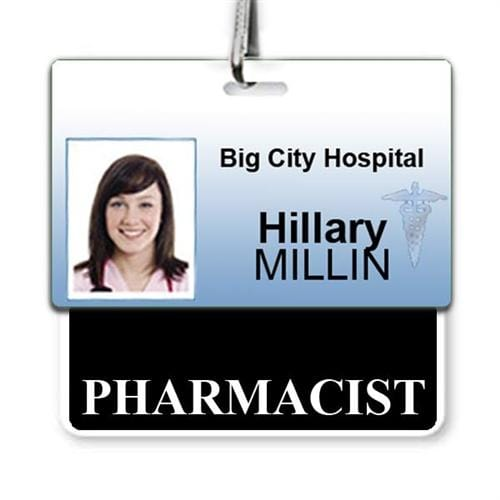 """Pharmacist"" Horizontal Badge Buddy with Black Border"
