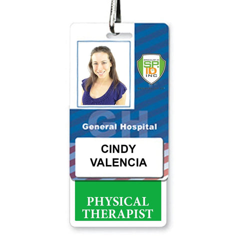 Physical Therapist Vertical Badge Buddy with Green Border