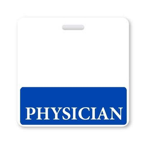 PHYSICIAN Horizontal Badge Buddy with Blue Border