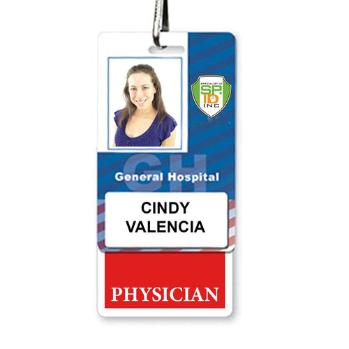 PHYSICIAN Vertical Badge Buddy with Red Border